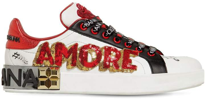 Dolce & Gabbana 20mm Amore Embellished Leather Sneakers