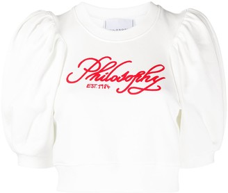 Philosophy di Lorenzo Serafini logo-print bell sleeves T-shirt