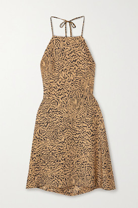 HVN Reece Tiger-print Silk Crepe De Chine Halterneck Mini Dress - Sand