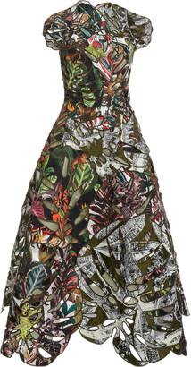 Oscar de la Renta Printed Jacquard Cocktail Dress