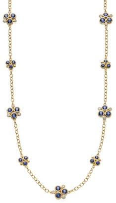 Temple St. Clair 18K Yellow Gold, Diamond & Blue Sapphire Trio Necklace