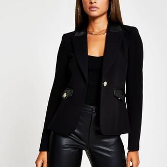 River Island Womens Black Pu gold button detail blazer