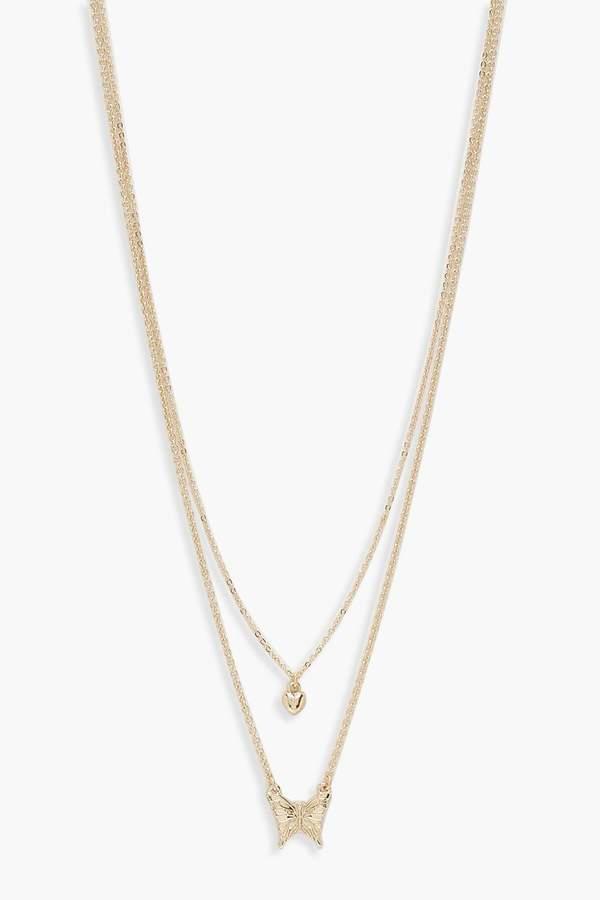 cbfa5defc9403 Butterfly & Heart Double Chain Necklace