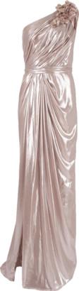 Marchesa Lame One Shoulder Drape Gown
