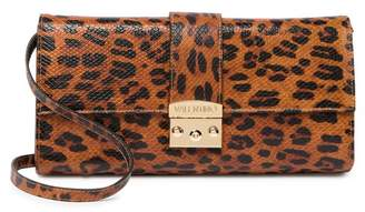 Mario Valentino Valentino By Cocotte Embossed Leopard Print Leather Shoulder Bag