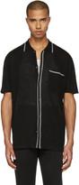 Lanvin Black Wool Stripe Polo