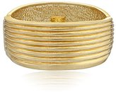 "Robert Lee Morris Soho ""Prisma"" Gold-Tone Sculptural Ribbed Hinged Bangle Bracelet"
