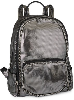 Bari Lynn Metallic Chain Backpack