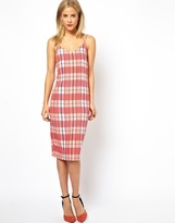 ASOS COLLECTION ASOS Check Print Midi Cami Dress