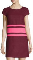 Julie Brown Allora Cap-Sleeve Striped Dress, Wine/Hot Pink