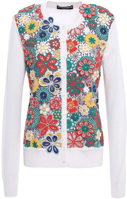 Dolce & Gabbana Guipure Lace-paneled Knitted Cardigan