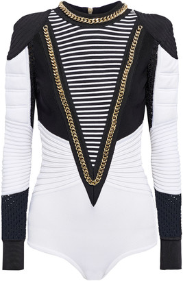 Balmain Chain-trimmed Paneled Bandage, Ribbed-knit And Crochet Bodysuit