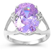 "THE ICE EMPIRE JEWELRY 11MM EX. LARGE (6.05 ctw) Royal Vintage French Prong Setting .925 Sterling Silver ""PURPLE LAVENDER-VIOLET-LIGHT AMETHYST"" OVAL & CLEAR CZ Ring 5-12 & Half Sizes 6.5 & 7.5 (.925 Italian Sterling Silver, 7)"