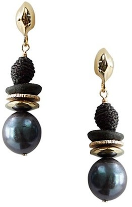 Akola Mina Glass, Raffia & 12MM Baroque Peacock Pearl Drop Earrings