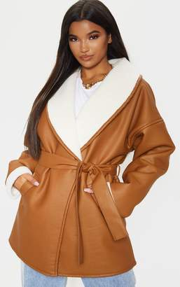 PrettyLittleThing Black Aviator PU Tie Waist Long Sleeve Jacket