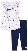 Nike Short Flutter Sleeve T-Shirt Leggings Two-Piece Set (Toddler) (Blue Void) Girl's Active Sets