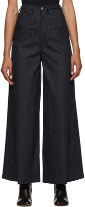 MM6 MAISON MARGIELA Navy Wide-Leg Pinstripe Trousers