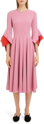 Roksanda Flutter Sleeve Midi Dress