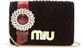 Miu Miu Snakeskin-trimmed velvet cross-body bag