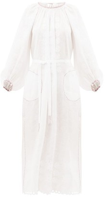 Vita Kin - Stars Embroidered-linen Dress - Womens - White