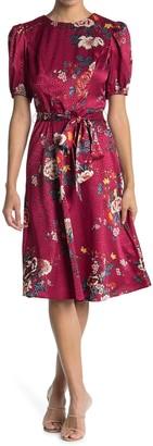 London Times Spaced Bouquet Pebble Jacquard Dress