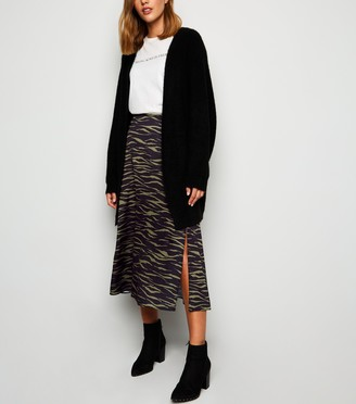 New Look Bias Cut Satin Tiger Print Midi Skirt