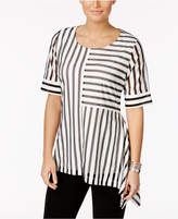 Alfani PRIMA Paneled Illusion-Stripe Top, Only at Macy's