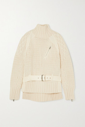 Sacai Belted Felt-paneled Cable-knit Wool Sweater - Off-white
