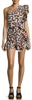 Isabel Marant Lavern One-Shoulder Mini Dress, Neutral Pattern
