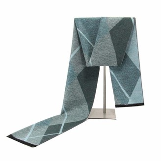 Songqiang Men'S Cashmere Scarf Soft Warm Decoration Fashion Contrast Color Diamond Jacquard Scarf@Green_30*180Cm