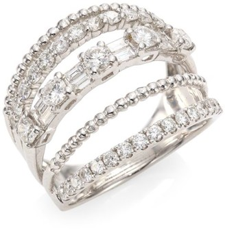 Shay Mixed Diamond & 18K White Gold 5-Row Ring