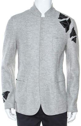 Emporio Armani Grey Wool Cut Out Detail Mandarin Collar Jacket XL