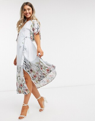 Liquorish wrap midi dress in blue floral print