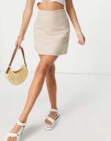 Thumbnail for your product : Monki River mini skirt in tan dogtooth