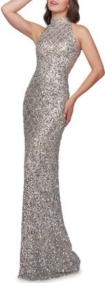 Mac Duggal Scallop Sequin High-Neck Sleeveless Column Gown