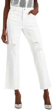 INC International Concepts Inc High-Rise Sequin Straight-Leg Jeans, Created for Macy's