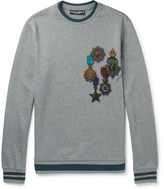 Dolce & Gabbana Contrast-tipped Printed Loopback Cotton-jersey Sweatshirt - Gray