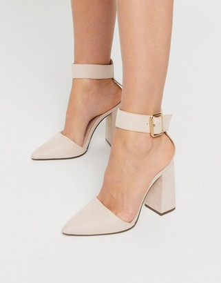 Qupid block heeled shoes in beige