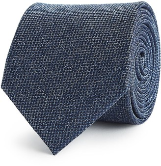 Reiss CEREMONY TEXTURED SILK TIE Indigo