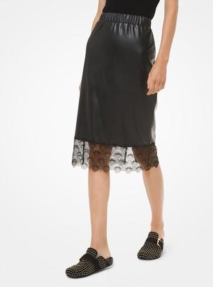 MICHAEL Michael Kors Lace-Trim Faux Leather Slip Skirt