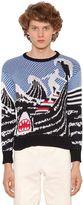 Thom Browne Surfer & Shark Jacquard Cotton Sweater