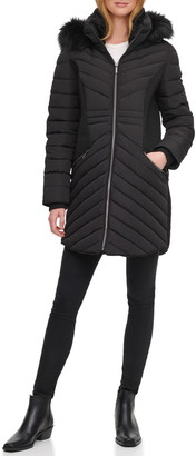 DKNY Quilted Faux Fur Hood Puffer Jacket