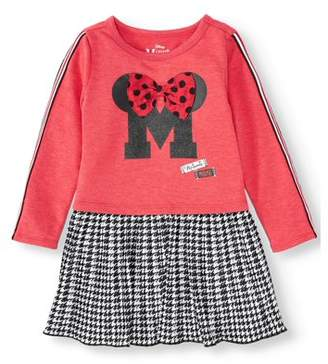 Minnie Mouse Long Sleeve Racer Stripe Dress with Plaid Pleated Skirt (Toddler Girls)