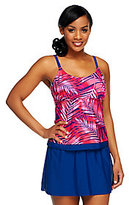 As Is Ocean Dream Signature Palm Faux Layered Tankini with Skirt