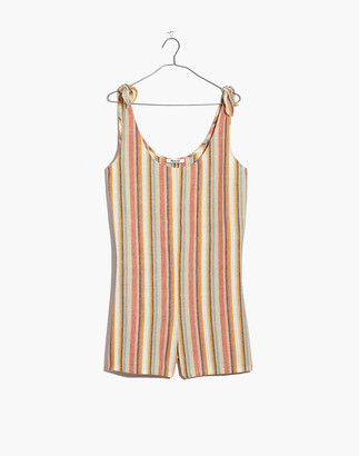 Madewell Tie-Strap Cover-Up Romper in Rainbow Stripe
