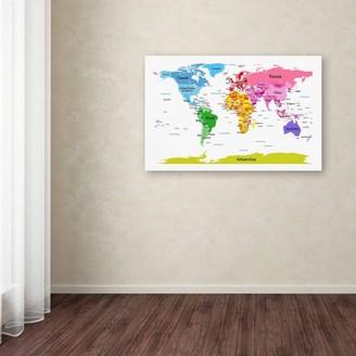 "Kids II Trademark Fine Art ""World Map for Canvas Art by Michael Tompsett"