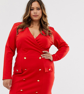 Unique21 Hero shift dress with gold buttons-Red