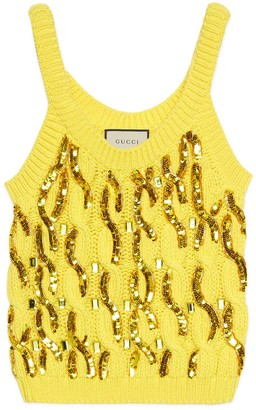 Gucci Cable knit wool tank top with sequins