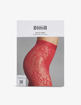 Wolford Phyllis floral-embroidered stretch-lace tights