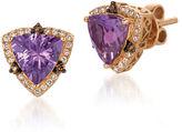 LeVian 0.90TCW Diamonds, Amethyst and 14K Rose Gold Chocolatier Stud Earrings
